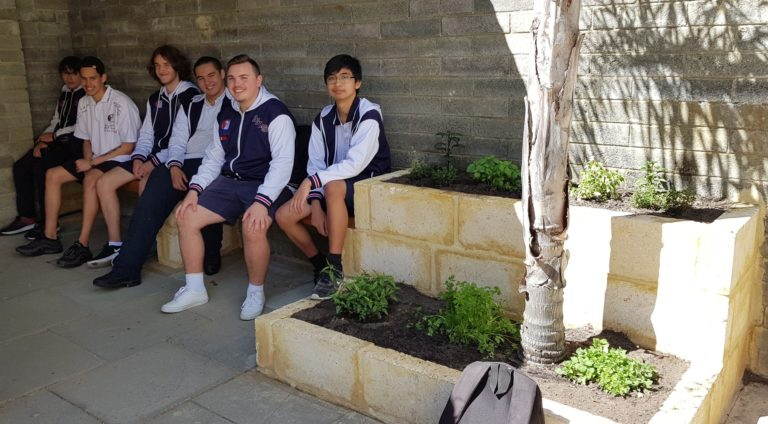 Year 12 General Building and Construction students sitting on bench seat