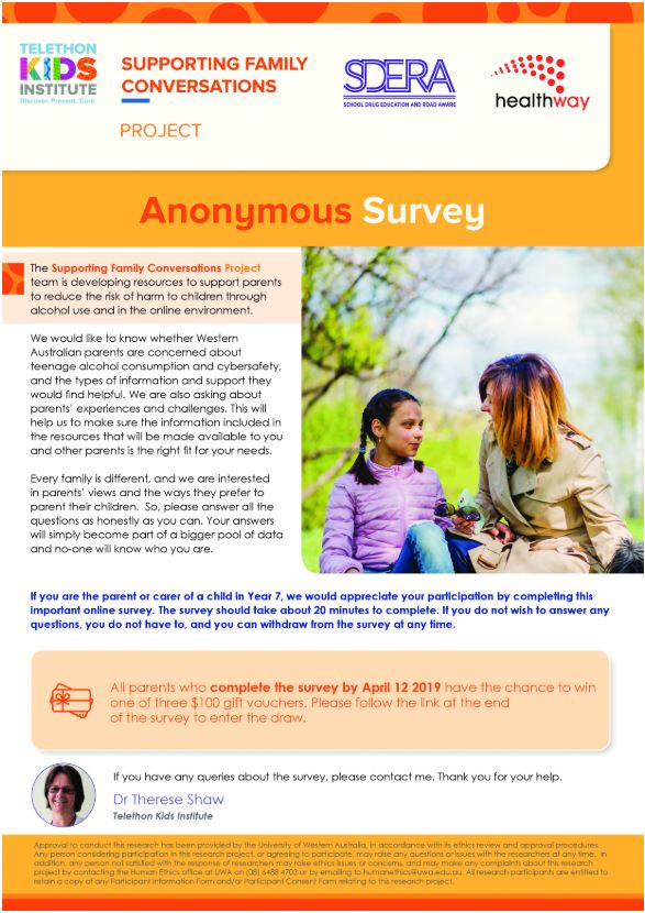Supporting Family Conversations Survey page