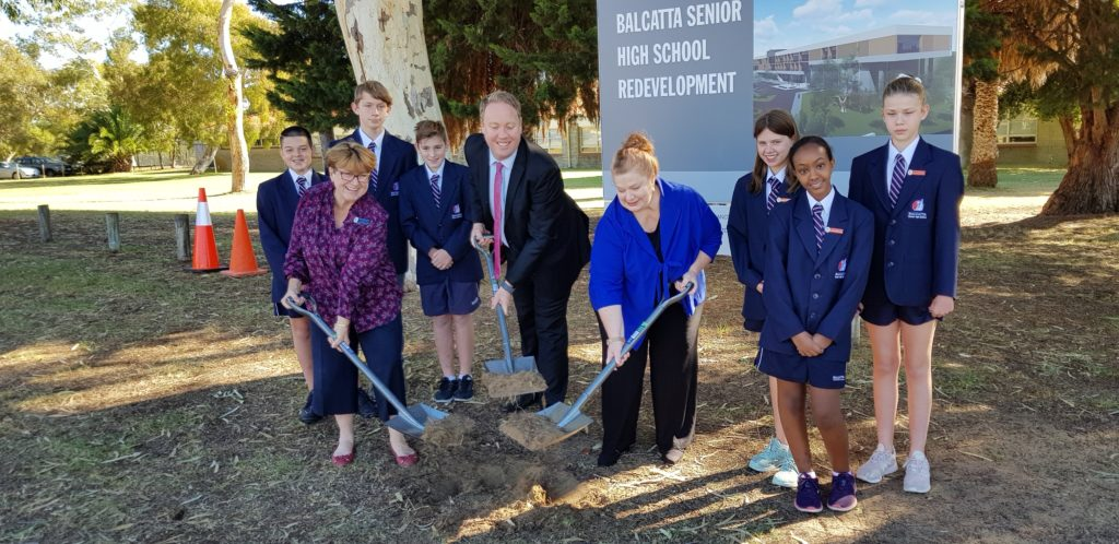 May 2019 - Minister of Education, Sue Ellery, David Michael MLC and Principal, Helen Maitland at sod turning event