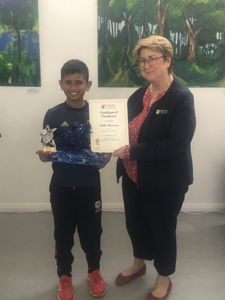 Certificate of Commendation Award winner - Achilles Chinasamy, Yr 5 Osborne PS