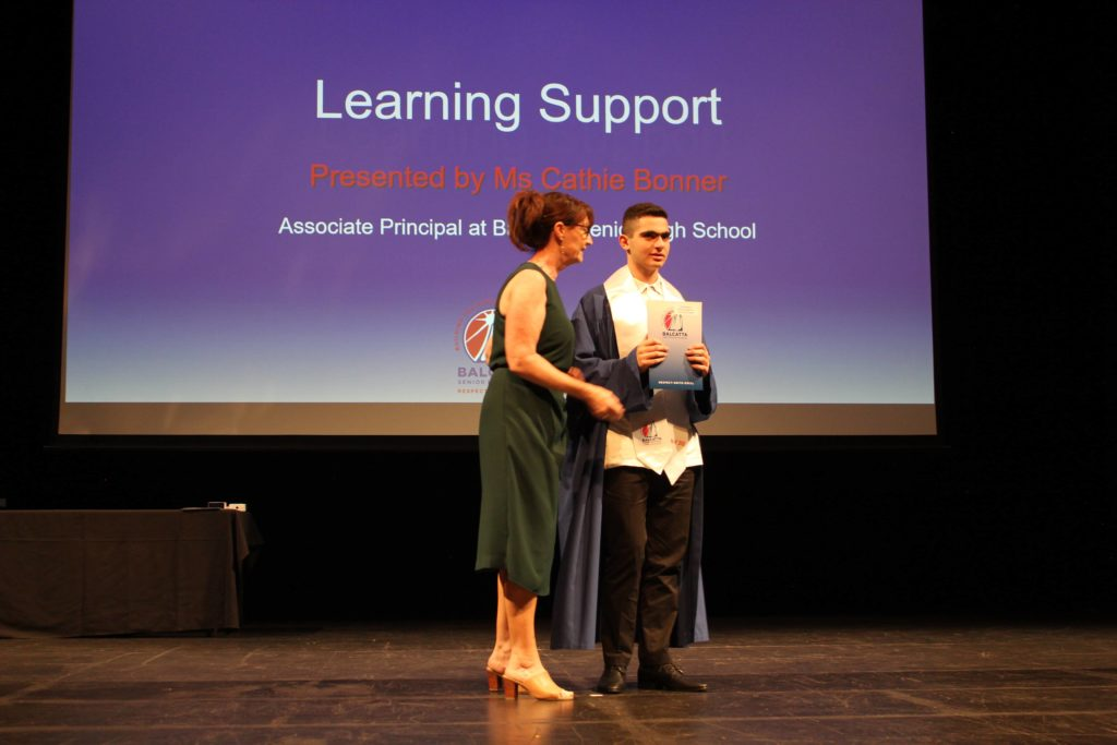 The Certificate of Commendation in Learning Support Award was presented by Ms Cathie Bonner, Associate Principal and awarded to Leroy Sassine