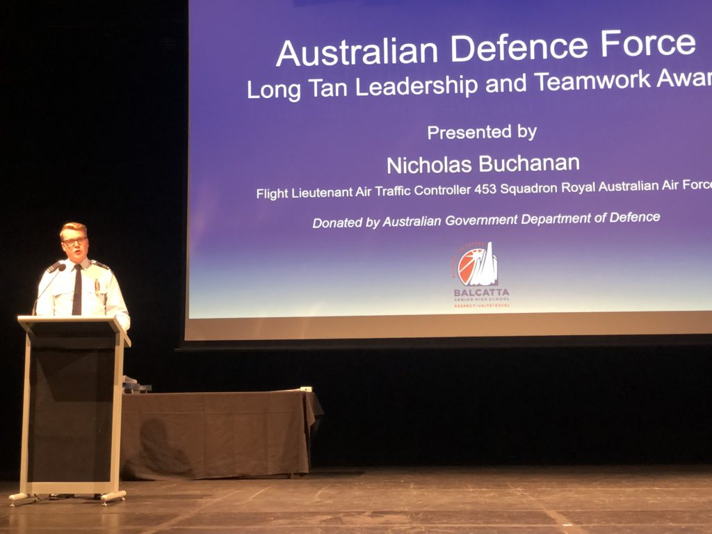 ADF Leadership and Teamwork Award presented by Mr Nicolas Buchanan, Flight Lieutenant Air Traffic Controller 453 Squadron Royal Australian Air Force