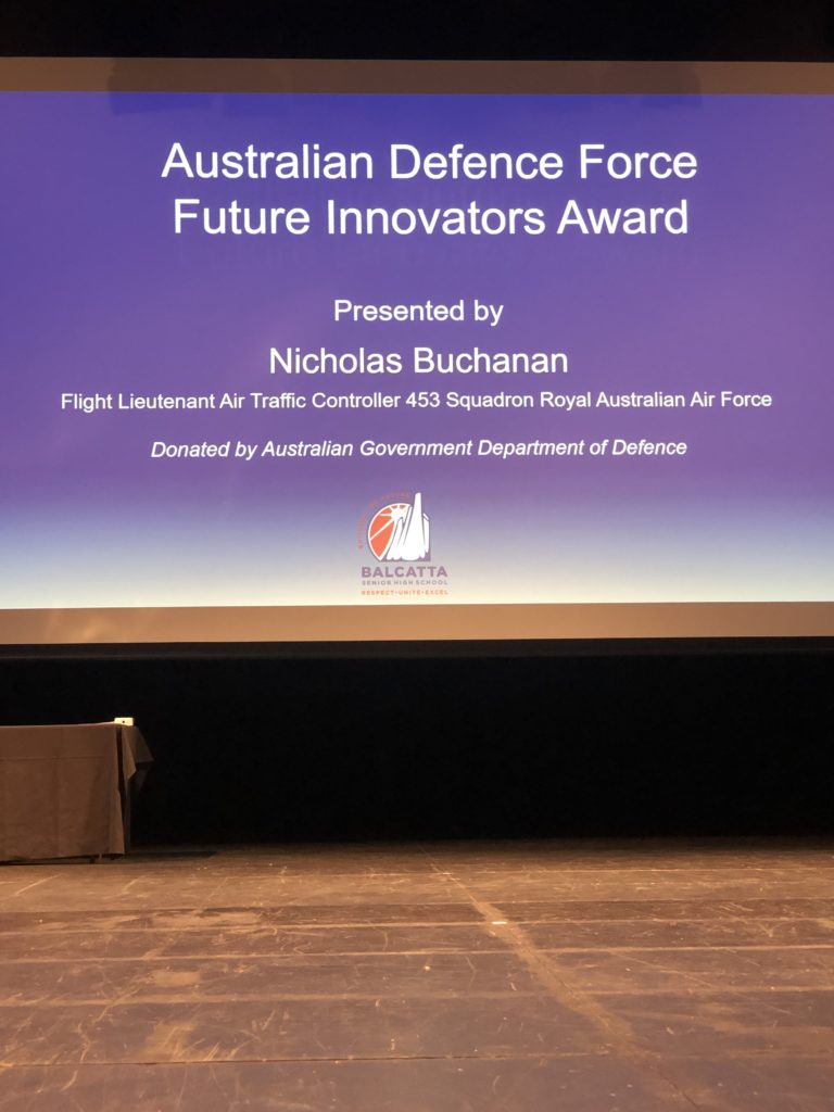 ADF Future Innovators Award presented by Mr Nicolas Buchanan, Flight Lieutenant Air Traffic Controller 453 Squadron Royal Australian Air Force