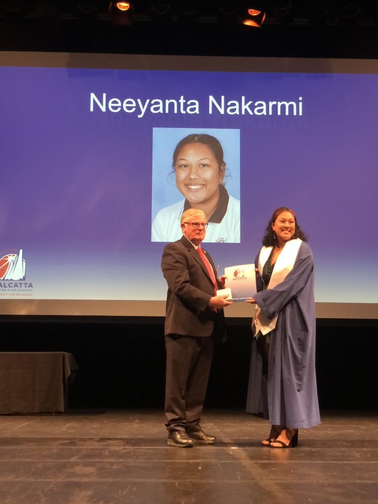 Neeyanta Nakarmi was the recipient of the Stan Perron Award presented by Mr Peter Stewart, President of the Rotary Club of WA, Osborne Park Branch