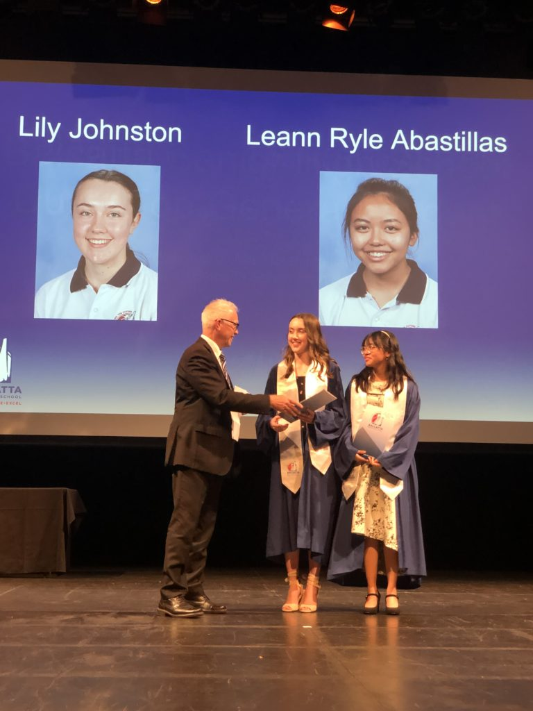 Lily Johnston and Leann Ryle Abastillas were nominated for 2021 John Curtis Scholarship Program.  This award was presented by Dr Peter Reynolds, Engagement and Transition Manager, North Metropolitan Regional Education Office